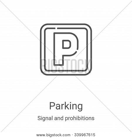 parking icon isolated on white background from signal and prohibitions collection. parking icon tren