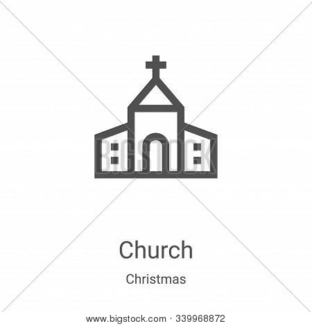 church icon isolated on white background from christmas collection. church icon trendy and modern ch