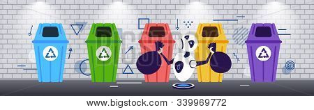 Modern Robot Putting Garbage Bags In Different Types Of Recycling Bins Segregate Waste Sorting Manag
