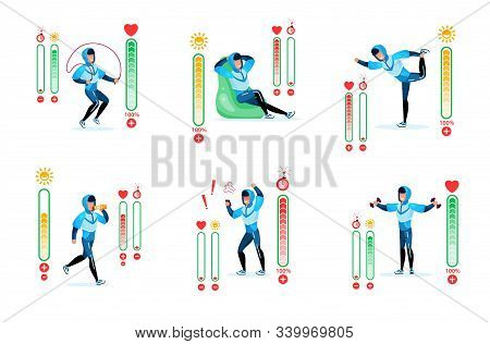 Fitness Training, Healthy Lifestyle Trendy Flat Vector Infographic Icons Set. Man In Tracksuit Doing