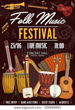 Folk Music Festival, Sound Band Concert Poster, Musical Instruments And Notes. Vector Stringed And A