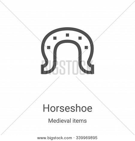horseshoe icon isolated on white background from medieval items collection. horseshoe icon trendy an