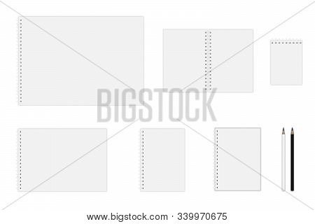 Vector Notebook Mockup (a3, A4, A5, A6), Hardcover Notebook, Pencils