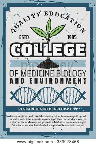 College Quality Higher Education In Medicine Biology, Environment Or Chemistry And Microbiology. Vec