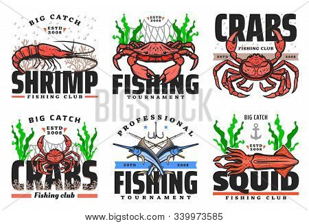 Fishing Club, Seafood And Big Fish Catch Tournament Icons. Vector Fisher Equipment Tackles, Rods And
