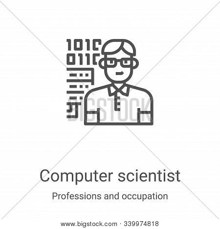 computer scientist icon isolated on white background from professions and occupation collection. com