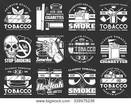 Cigars, Cigarettes And Premium Quality Tobacco Products Icons. Vector Tobacco Smoking Shop, Hookah A