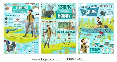 Sea Fishing Sport And Big Fish Catch Hobby, Fisher Tackles, Lures And Equipment Infographics. Vector