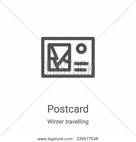 postcard icon isolated on white background from winter travelling collection. postcard icon trendy a