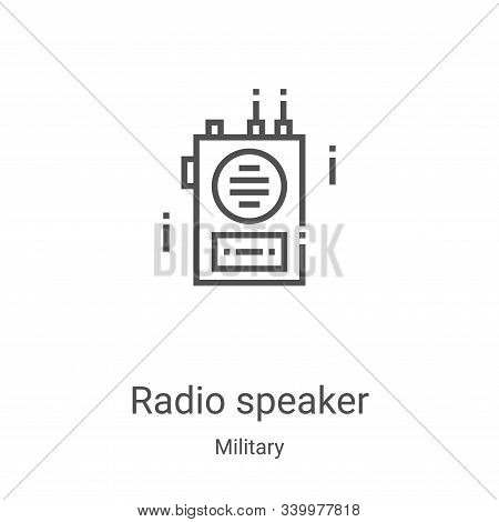radio speaker icon isolated on white background from military collection. radio speaker icon trendy