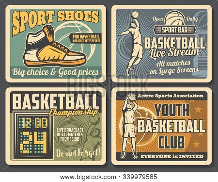 Basketball Youth Club And Professional Sport Equipment Shop Retro Vintage Posters. Vector Basketball