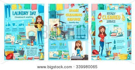Clean House Service, Dry Cleaning And Laundry, Kitchen Dish Washing And Housekeeping. Vector Housewi