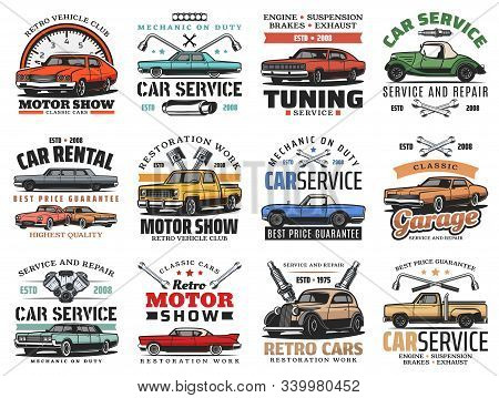 Car Maintenance Service, Automobile Repair And Diagnostics Auto Center Icons. Vector Retro Cars Moto