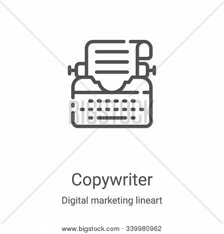 copywriter icon isolated on white background from digital marketing lineart collection. copywriter i