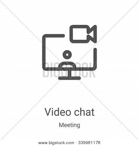 video chat icon isolated on white background from meeting collection. video chat icon trendy and mod