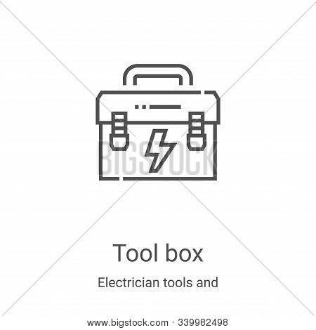 tool box icon isolated on white background from electrician tools and elements collection. tool box