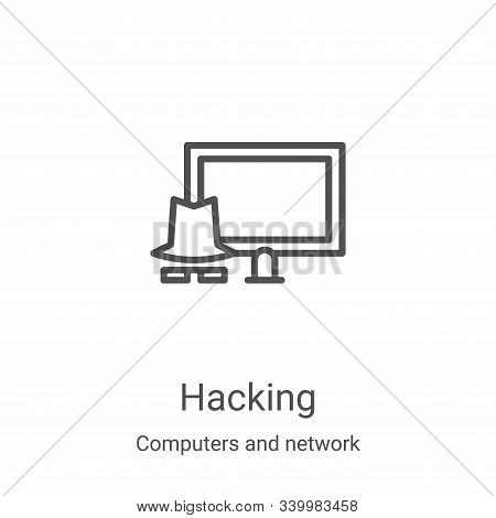 hacking icon isolated on white background from computers and network collection. hacking icon trendy