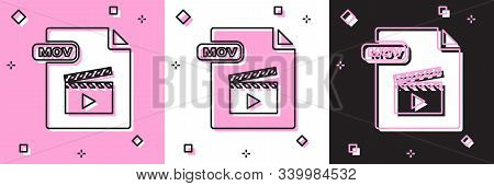 Set Mov File Document. Download Mov Button Icon Isolated On Pink And White, Black Background. Mov Fi