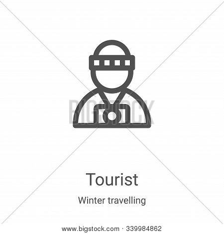 tourist icon isolated on white background from winter travelling collection. tourist icon trendy and