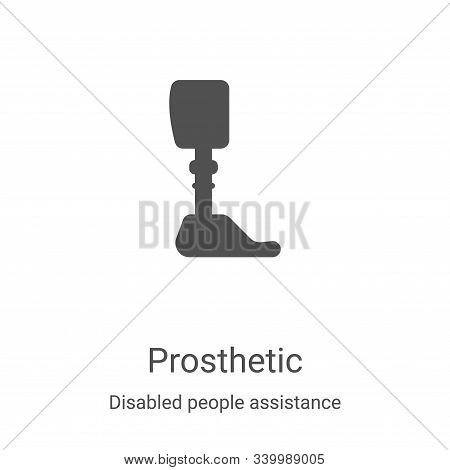 prosthetic icon isolated on white background from disabled people assistance collection. prosthetic