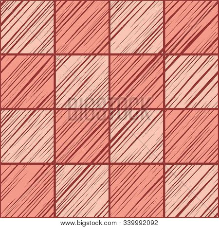 Tile Square, Seamless Background, Pink, Vector. Squares Diagonally Shaded In Pink On The Red-brown B