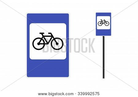 Bicycle Parking Blue Rectangular Roadsign Isolated On White Background. Bike Cycle Traffic Regulatio