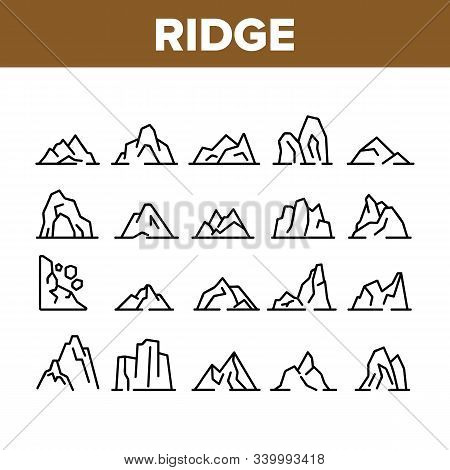 Ridge Different Form Collection Icons Set Vector Thin Line. Ridge Peak Climbs For Extreme Sport, Adv
