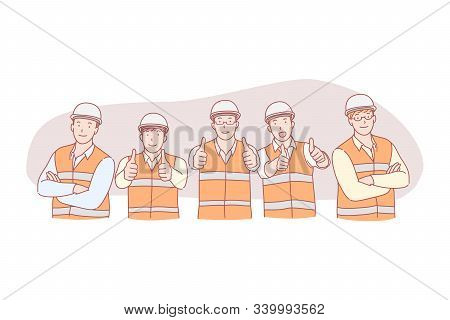Civil Engineer Work, Successful Project, Group Photo Posing Concept. Construction Industry, Smiling
