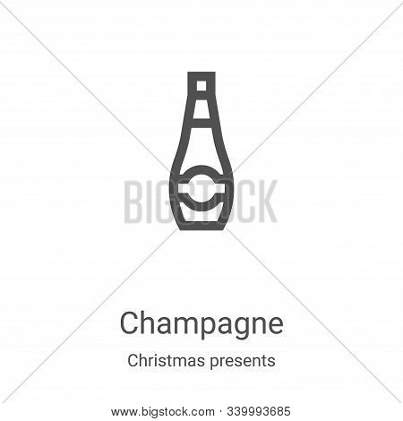 champagne icon isolated on white background from christmas presents collection. champagne icon trend
