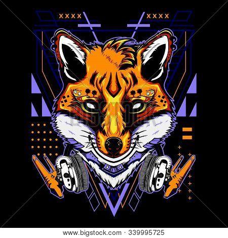 Modern kitsune demon fox with headphones techno geometry on black background for t-shirt, sticker, posters. Animal tattoo style