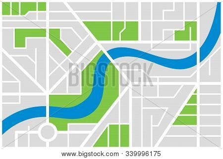 Generic Imaginary City Street Map Plan With River. Vector Colorful Town Eps Illustration Schema