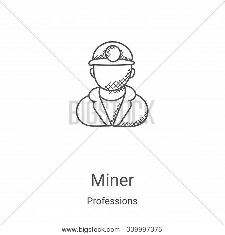 miner icon isolated on white background from professions collection. miner icon trendy and modern mi