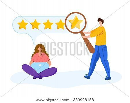 Client Feedback - People With Laptop, Magnifying Glass Searching Feedback, Customers Review Concept