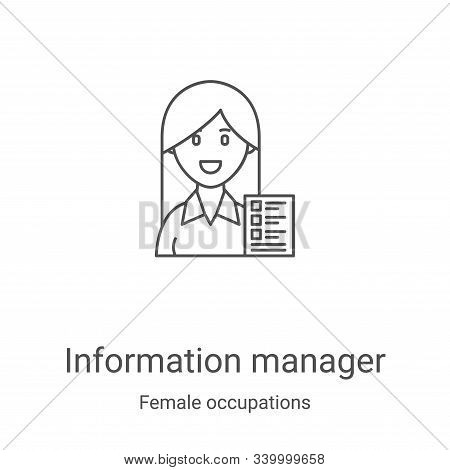 information manager icon isolated on white background from female occupations collection. informatio