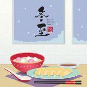 Dong Zhi - Winter Solstice Festival. Jiao Zi (dumplings) & Tang Yuan (sweet dumpling soup) in flat vector illustration. (caption: winter solstice festival, blessing) poster