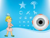 A girl with a bandage on the eye with the disease Amblyopia. Test table for betey and eyes. Vector illustration. poster
