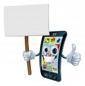 Mobile phone mascot character holding an announcement board sign smiling and doing a thumbs up gesture poster