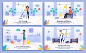 Apartment Cleaning, House Cleanup Works Trendy Flat Vector Banners, Posters Set. Woman Mopping Room Floor, Vacuuming Furniture, Cleaning Bathroom, Man Resting While Robot Cleaning Carpet Illustration poster