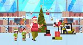 elves couple helpers of santa claus working together with gift present boxes modern warehouse interior christmas holidays celebration concept full length horizontal vector illustration poster