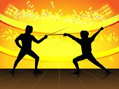 Silhouette of fencing athletes on colorful grungy background. EPS 10. poster