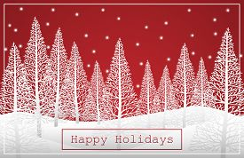 Vector Illustration Of Landscape With White Pine Trees On Snow Hill And Happy Holidays Text On Red S