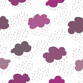 Pink And Purple Clouds And Rain Drops Seamless Pattern.
