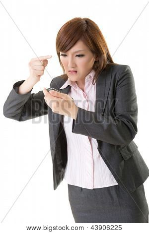 Angry businesswoman talk on phone, closeup portrait on white background.
