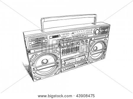 Old school boombox on white background