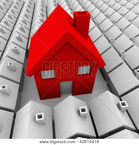 One big red house stands out among a neighborhood of small plain white homes to symbolize it is biggest and best choice