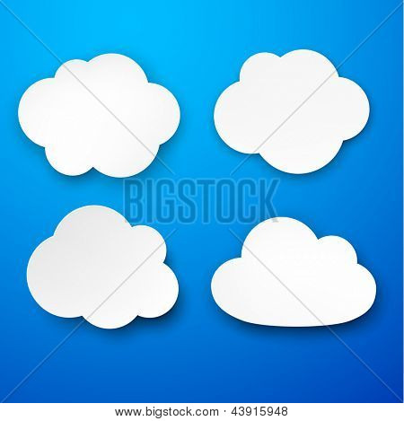 Vector illustration of white paper clouds over blue background. Eps10.