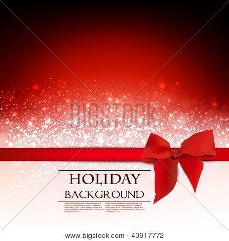 Elegante Holiday roten Hintergrund mit Bogen und Platz für Text. Vektor-Illustration.