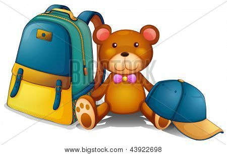 Illustration of a backpack, a bear and a baseball cap on a white background