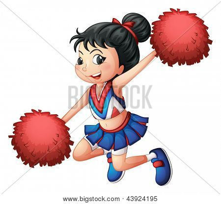Illustration of a cheerleader dancing on a white background
