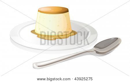 Illustration of a spoon beside a plate with a leche flan on a white background